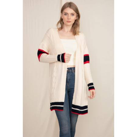 Women's Cable Knit Tricot Cardigan