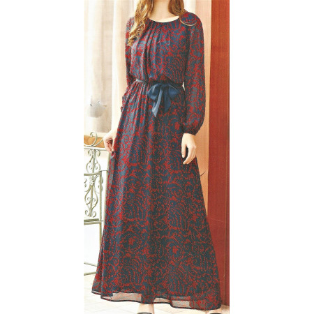 Party Dress Blue and red long sleeve