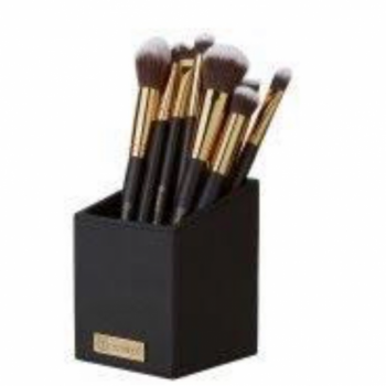 BH Cosmetics White Marble Brush Set With Angled Brush Holder - 9 Pieces