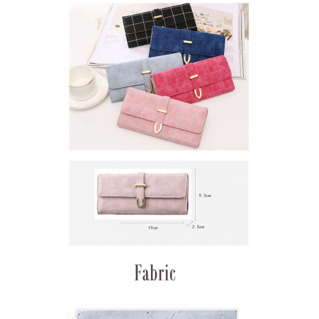Women's wallet  Long leather cards and paper money and metal designed high quality checkers